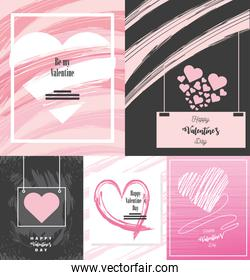 happy valentines day, greeting cards paint stroke color hearts and lettering icons collection