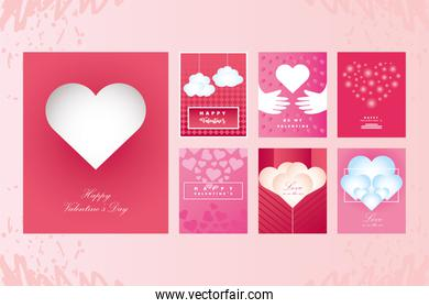 happy valentines day icons set hand written greeting lettering and decorative textured