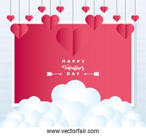 happy valentines day hanging paper hearts greeting card