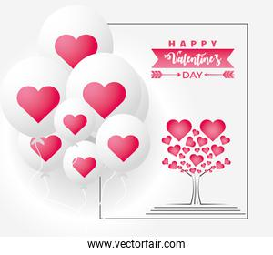 happy valentines day lovely tree with leaves shaped hearts and balloons decoration card