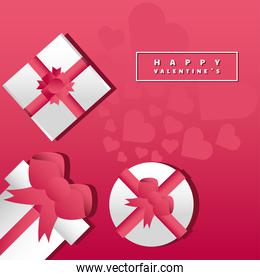 happy valentines day greeting card gift boxes with ribbon romantic