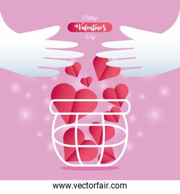happy valentines day hands with full basket of hearts love card
