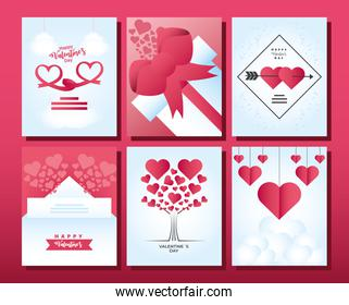 happy valentines day icons set cards with tree hearts gif and ribbon celebration