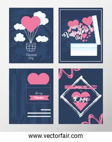 happy valentines day icons set greeting card with heart love romantic on blue background