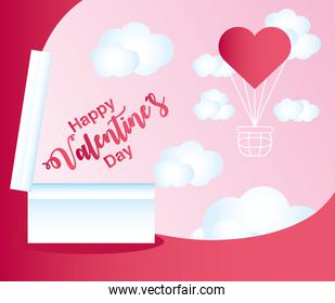 happy valentines day gift box with handwritten text and heart decoration