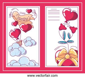 happy valentines banners hearts flowers and balloosn decoration hand drawn style