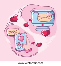 happy valentines, online message love romantic mobile and email hand drawn style