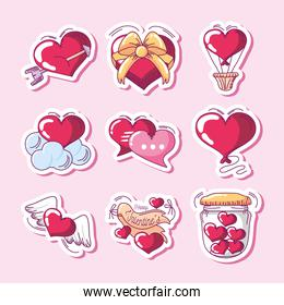 happy valentines day, heart arrow gift balloon icons set hand drawn style
