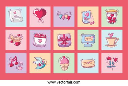 happy valentines day, heart love romantic cake message calendar icons set hand drawn style