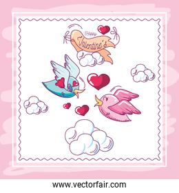 happy valentines, greeting card birds with flowers message love hand drawn style