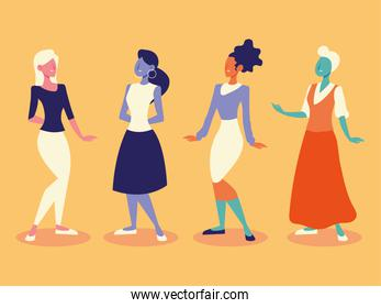 diverse group young female women standing on yellow background
