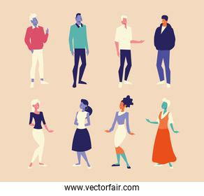 diversity people men and women characters group design