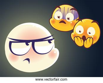 emoji faces expression sad and mood surprised scared characters