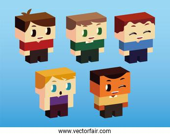 kids, boys little characters standing, isometric style