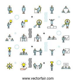 bundle of twenty five business people team characters workers