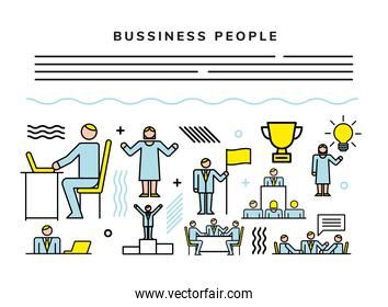 business people team with set icons