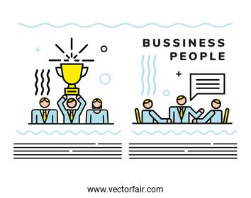 business people team with speech bubble and trophy cup
