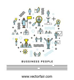 bundle of business people team characters circle