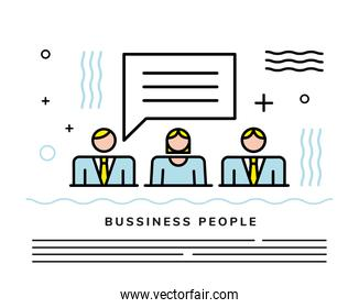 business people team with speech bubble