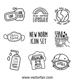bundle of eight new norm letterings campaign set line style icons