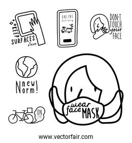 bundle of six new norm letterings campaign set line style icons