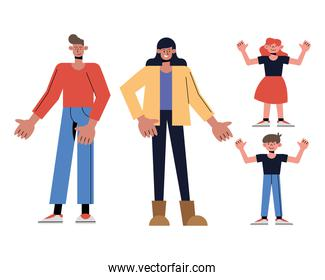 Mother father daughter and son cartoons vector design