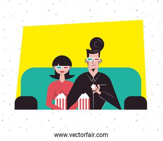 Romantic couple seeing 3d movie with glasses and popcorns vector design