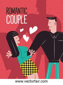 Romantic couple cartoons with hearts vector design