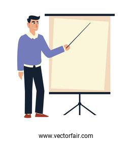 businessman character with presentation board strategy