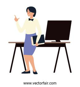 business woman with folder desk and computer work office