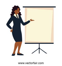 business woman with presentation board meeting