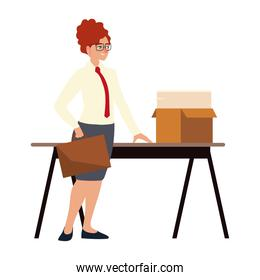 business woman with briefcase papers in box on desk working