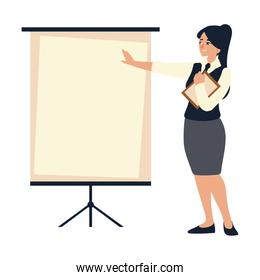 business woman with documents and presentation board working