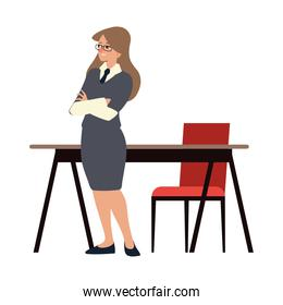 business woman in workspace with desk and chair