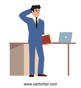 worried business man with folder laptop and desk office