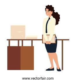 business woman with clipboard papers on desk office