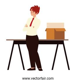 business woman office work with papers in desk