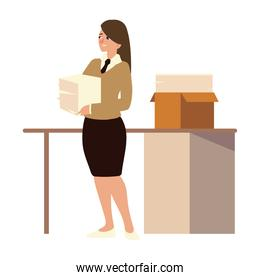 business woman holds pile of documents and desk with papers