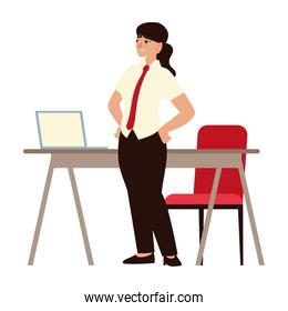 business woman with laptop chair and office desk