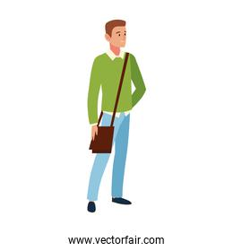 student male character with handbag, cartoon people student university