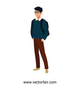 student man with glasses and bag character, cartoon people student university
