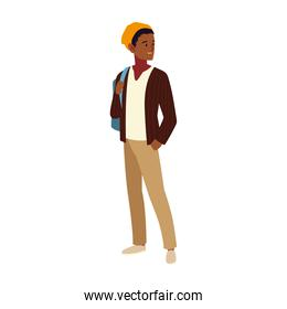 student male character, cartoon people student university