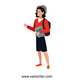 student man with books and bag character, cartoon people student university