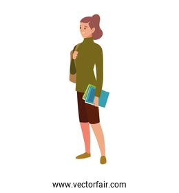 student university woman with books and bag character cartoon