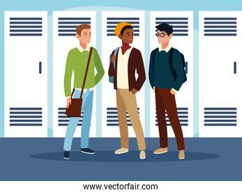 male students characters with backpacks in the hall
