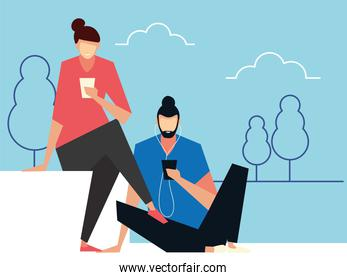 man and woman sitting using smartphones, people and gadgets
