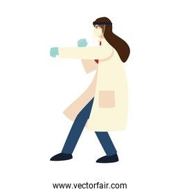 covid 19 virus protection and woman doctor hitting with mask and gloves isolated vector design