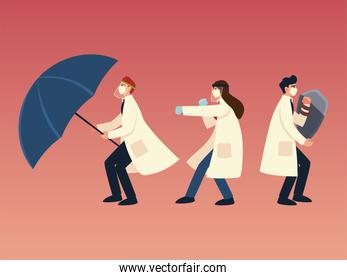 covid 19 virus protection and doctors with masks shield and umbrella vector design