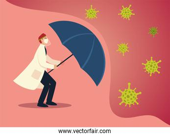 covid 19 virus protection and man doctor with mask and umbrella vector design