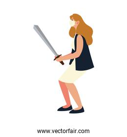covid 19 virus protection and woman with mask and sword vector design